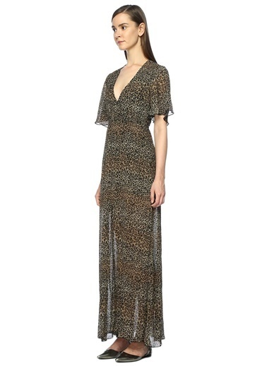 V Yaka Leopar Desenli Elbise-Foxiedox